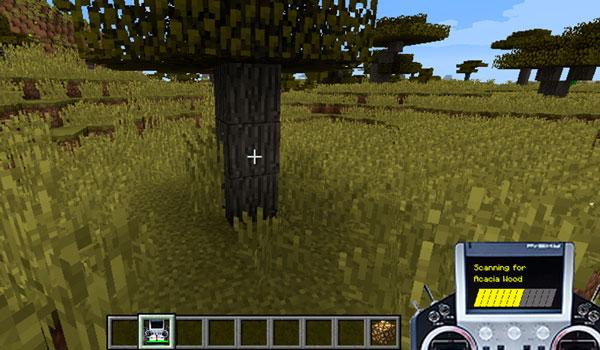 Imagen donde vemos el escáner, del mod Corail Scanner 1.12, 1.12.1 y 1.12.2, en pleno funcionamiento. En este caso, buscando bloques de madera de acacia.