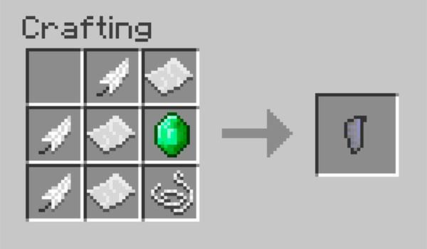 Imagen donde podemos ver la forma en que se fabrican las alas del mod Craftable Elytra Mod 1.12.2.
