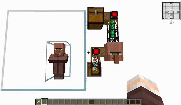 Imagen donde podemos ver un sistema automático que utiliza las funciones del mod Cubic Villager 1.12.2, para intercambiar, con un bloque aldeano, esmeraldas por experiencia.