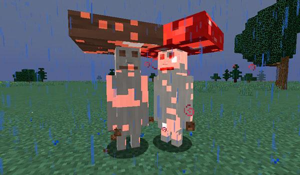 Imagen donde podemos ver dos de las criaturas que encontraremos al instalar el mod Even More Creatures 1.12, 1.12.1 y 1.12.2, los Hongos Mutantes.