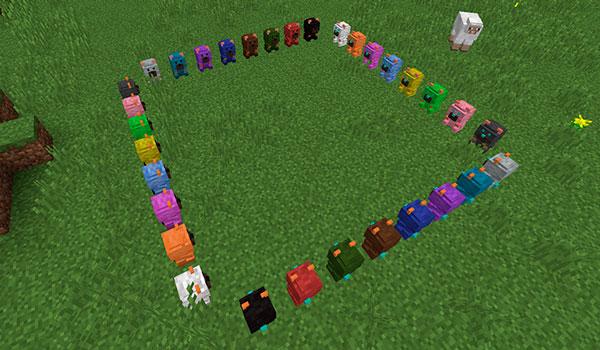 Imagen donde podemos ver las dieciséis variantes de osos de pociones que podremos crear con el mod Potion Bears 1.12, 1.12.1 y 1.12.2.