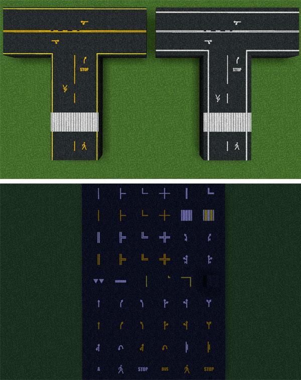 Imagen donde podemos ver una parte de todos los bloques de construcción, con marcas viales, que podremos utilizar con el mod RC Roads 1.12, 1.2.1 y 1.12.2.