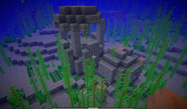 Imagen donde podemos ver un ejemplo de un tipo de ruina submarina, que encontraremos en la futura versión 1.13 de Minecraft.