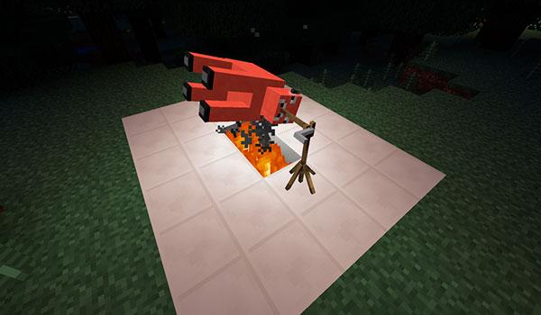 Imagen donde vemos como se cocina una vaca con el mod Starvation Ahoy 1.12.2 instalado.