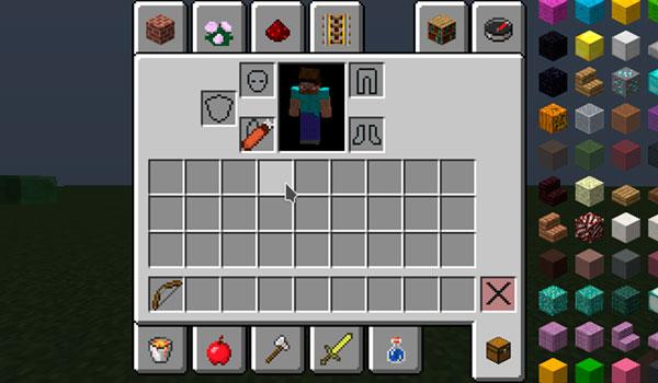 Imagen donde vemos un personaje colocando el carcaj, del mod The Lost Quiver 1.12.2, en la casilla de la pechera del personaje.