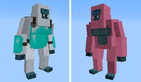 Imagen donde podemos ver dos variantes de yeti, añadidos por el mod Creature Whisperer 1.12, 1.12.1 y 1.12.2.