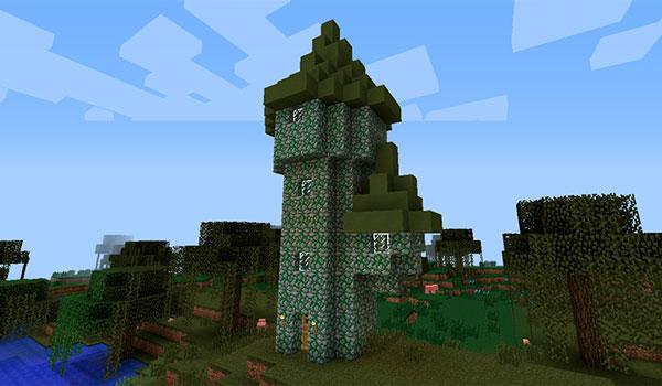 Imagen donde podemos ver una de las torres de hechiceros que añade el mod Electroblob's Wizardry 1.12.2.