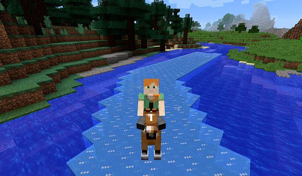 Imagen donde podemos ver un jugador sobre un caballo que tiene la habilidad de convertir el agua en hielo, del mod Horse Tweaks Mod 1.12.2, para poder atravesar ríos y mares.