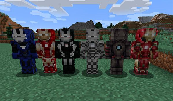 Imagen donde podemos ver los seis trajes o armaduras de Iron Man que podremos crear y utilizar con el mod Iron Man 1.12, 1.12.1 y 1.12.2.