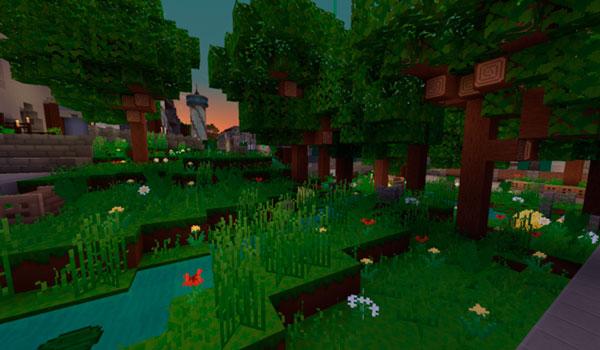 Imagen donde podemos ver el aspecto que tendrán los bosques de Minecraft al instalar Lemonade Texture Pack 1.12.
