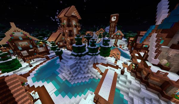 Imagen donde podemos ver el nuevo aspecto que aporta el paquete de texturas Lemonade 1.12, en un poblado de Minecraft.