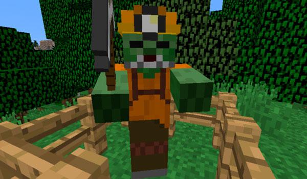 Imagen donde podemos ver una de las variantes de zombi que encontraremos al instalar el mod ReZombies 1.12.2, en este caso se trata de un minero zombi.
