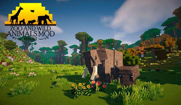 Imagen donde podemos ver un elefante y su cría, ambos animales añadidos al juego por el mod Zoo & Wild Animals 1.12, 1.12.1 y 1.12.2.