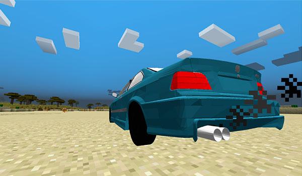 Imagen donde podemos ver uno de los modelos de BMW que añade el mod, Cars 1.12, 1.12.1 y 1.12.2, a Minecraft.