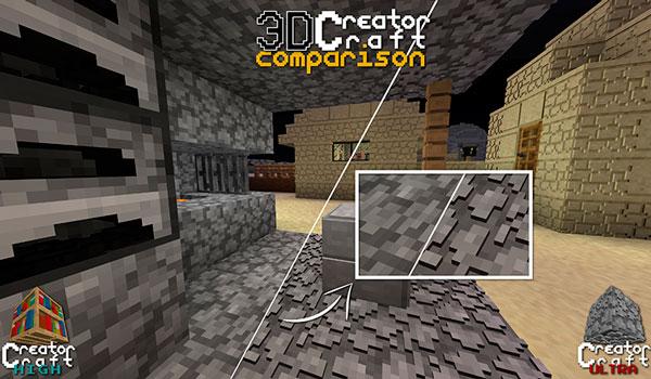 Imagen donde podemos ver una comparativa de las texturas predefinidas del juego, y las texturas del pack CreatorCraft 3D 1.14 y 1.13.