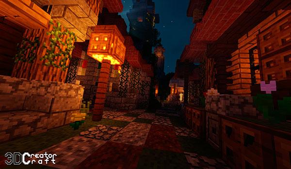 Imagen nocturna donde podemos ver una lámpara iluminando una calle, utilizando CreatorCraft 3D Texture Pack 1.14 y 1.13.