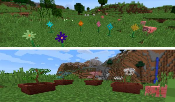 Imagen donde podemos ver un ejemplo de varios colores de flores y de bonsáis, gracias al mod Flora and Fauna 1.12.2.
