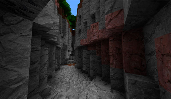 Imagen donde podemos ver el aspecto que tienen los diversos bloques de piedra, en una mina, con el paquete de texturas Full of Life 1.12.