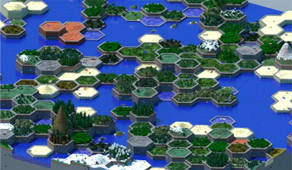 Imagen donde nos podemos hacer una idea de la nueva generación de terreno que ofrece el mod Hex Lands 1.12.2.