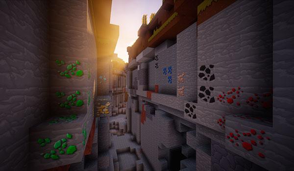 Imagen donde podemos ver una ravine, decorada con las texturas del pack LoKiCraft PureCartoon 1.12.