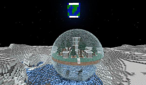 Imagen donde podemos ver una base en la Luna, creada con los objetos y bloques que nos ofrece el mod The Space Age 1.12.2.
