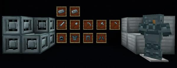 Imagen donde podemos todas las armas, herramientas y piezas de armadura que podremos fabricar con el material que añade el mod The Tiron 1.12.2.