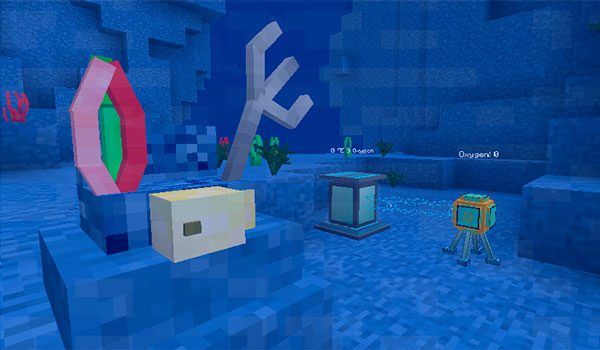 Imagen donde podemos ver las máquinas de generación de energía y oxígeno que agrega el mod Aquatic 1.12.2.