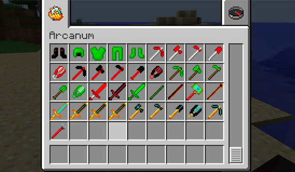 Imagen donde podemos ver una parte de las armas, herramientas, armaduras y objetos que podremos fabricar con los nuevos minerales que añade el mod Arcanum 1.12, 1.12.1 y 1.12.2.