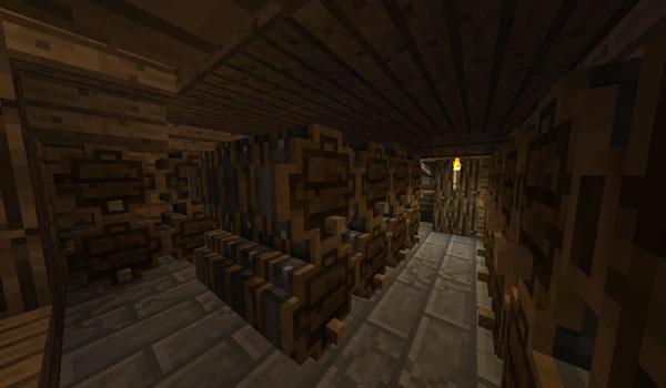 Imagen donde podemos ver una bodega, utilizando las barricas de vino que añade el mod GrowthCraft 1.12.2.