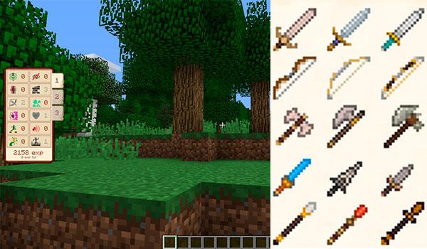 Imagen donde vemos todas las habilidades que podremos conseguir con el mod JJ Skill Mod 1.12, 1.12.1 y 1.12.2, además de las nuevas armas.
