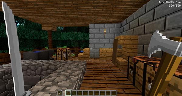Imagen donde podemos ver a un jugador utilizando una de las espada y hachas que ofrece el mod Kaishi's Weapons 1.12.2.