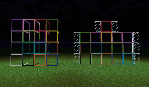 Imagen donde podemos ver un ejemplo de los cristales y paneles de cristal con iluminación, que añade el mod Light 1.12.2.