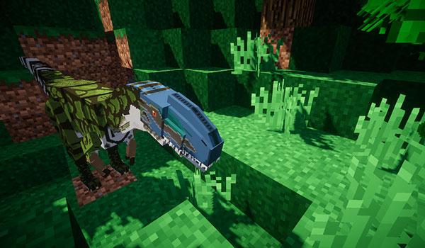 Imagen donde podemos ver uno de los dinosaurios, en este caso un velociraptor, que añade el mod Prehistoric Eclipse Mod para Minecraft 1.12, 1.12.1 y 1.12.2.
