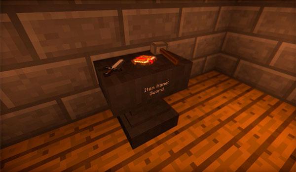 Imagen donde podemos ver un jugador utilizando la versión inmersiva del yunque, ofrecida por el mod Vanilla Immersion 1.12, 1.12.1 y 1.12.2.