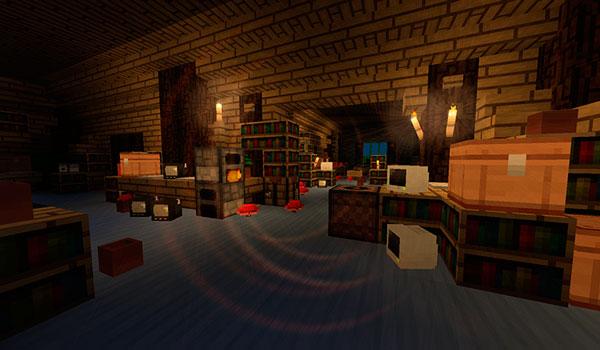 Imagen donde vemos el interior de una vivienda, con multiitud de bloques y objetos, que utiliza las texturas del pack Windbell 1.13 y 1.12.