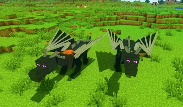 Imagen donde podemos ver dos dragones con las sillas de montar, que podremos utilizar para volar, con el mod Dragon Mounts 1.12, 1.12.1 y 1.12.2 instalado.