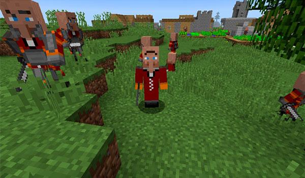 Imagen donde podemos varios de los nuevos aldeanos que se añaden a las aldeas, gracias al mod Coherent Villages 1.12.2.