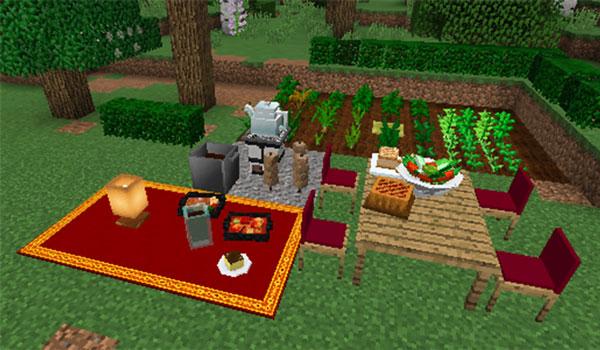 Imagen donde podemos ver nuevos cultivos, alimentos y objetos decorativos que añade el mod Heat And Climate 1.12.2.