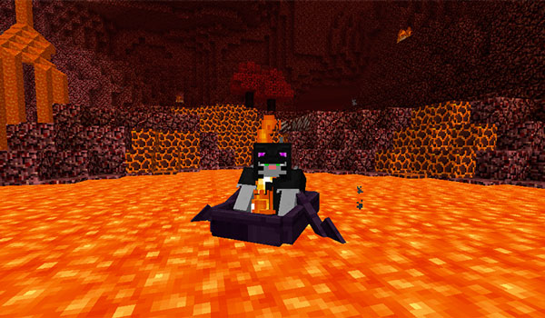 Imagen donde vemos a un jugador utilizando un bote, añadido por el mod MoreCraft 1.12.2, en un río de lava en el Nether.