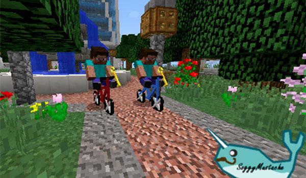 Imagen donde podemos ver a dos jugadores utilizando las bicicletas que añade el mod Transportation 1.12 y 1.12.2.