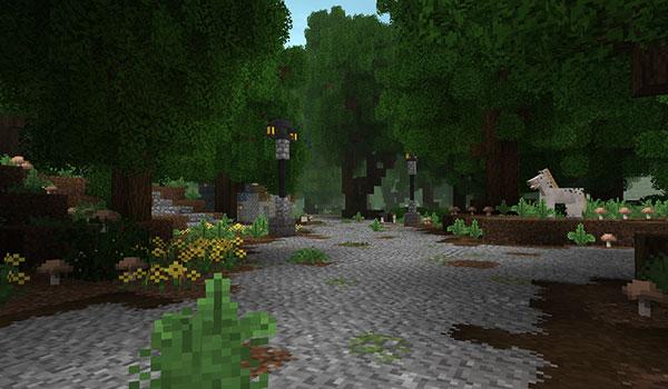 Imagen donde podemos ver un camino de piedra, en medio de un bosque, decorado con el paquete de texturas A Little Taste of Jerm 1.14 y 1.13.