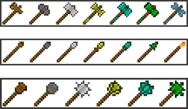 Imagen donde podemos ver algunas de las nuevas armas que podremos fabricar y utilizar con el mod Elder Arsenal 1.12, 1.12.1 y 1.12.2.