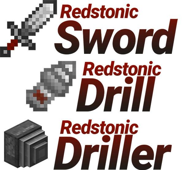 Imagen donde podemos ver algunas de las nuevas herramientas que podremos utilizar al instalar el mod Redstonic 1.12.2.