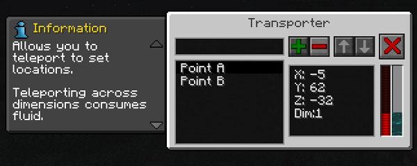 Imagen donde podemos ver la interfaz de uno de los teletransportadores que podremos utilizar al instalar el mod Whoosh 1.12.2.