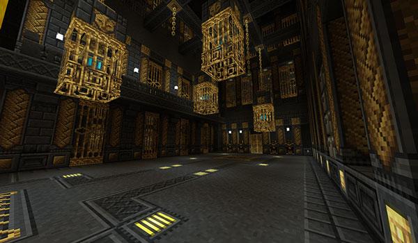 Imagen donde podemos ver el interior de una catedral, construida con los bloques que añade el mod Cathedral 1.12.2.