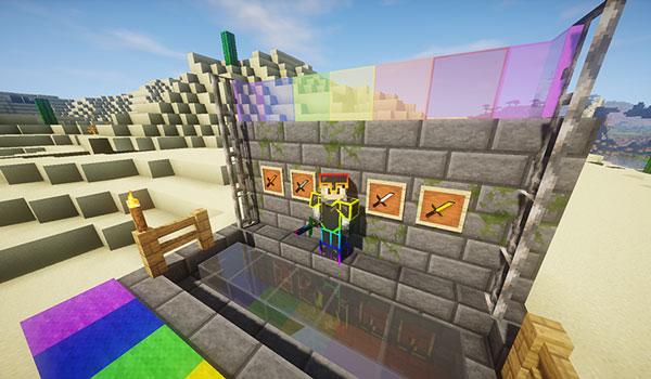 Imagen donde podemos ver algunos bloques y objetos del juego, decorados con el paquete de texturas Chroma Faithful Texture Pack 1.13 y 1.11.