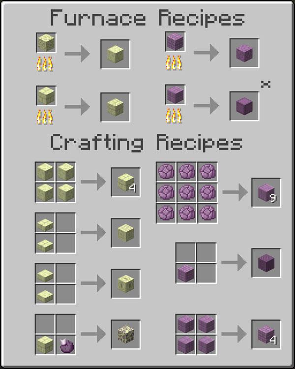 Imagen donde podemos ver todas las recetas para fabricar los nuevos bloques decorativos que añade el mod Additional Ender Blocks 1.12.2.