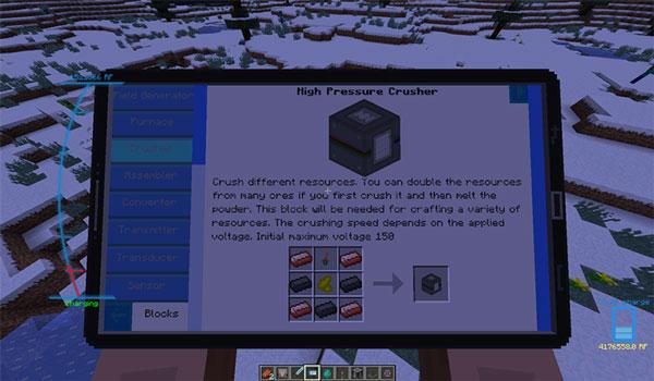 Imagen donde podemos ver la tableta que nos informa sobre todo el contenido que ofrece el mod Extreme Energy 1.12.2.