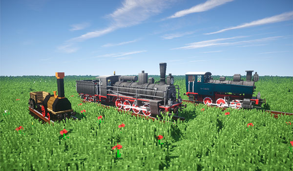 Imagen donde podemos ver tres locomotoras que añade el mod Rails of War 1.12.2.