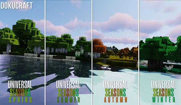 Imagen donde podemos ver el aspecto de las cuatro estaciones del año, aplicadas sobre Dokucraft, mediante el paquete de texturas Universal Seasons 1.13 y 1.12.